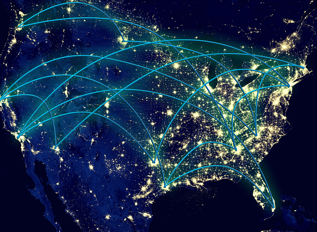 Flight map of the United States